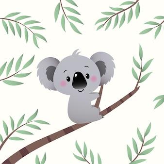 Cartoon koala arrampicata nel ramo di un albero di eucalipto. Vettore Premium