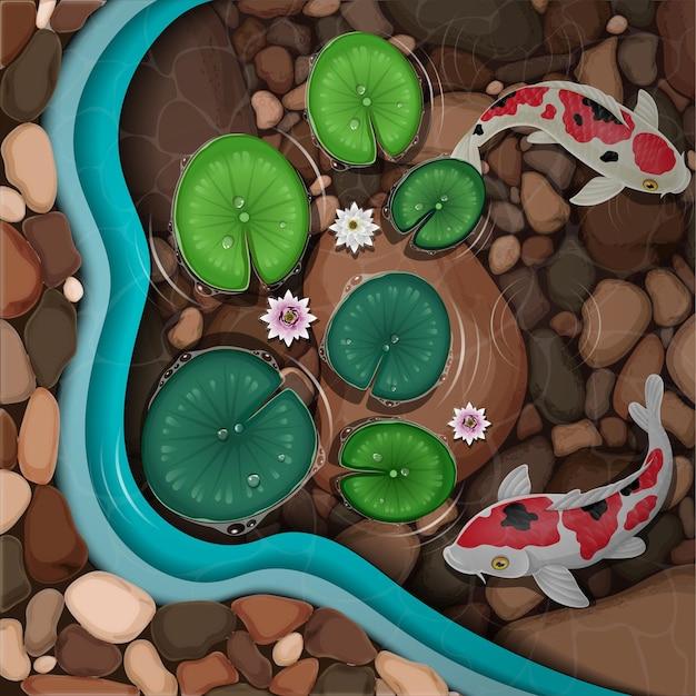 Pesci koi dei cartoni animati che nuotano nello stagno