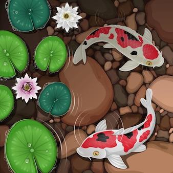 Pesce koi cartone animato che nuota in acqua con foglie e fiori di loto