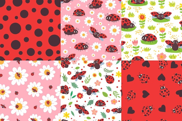Reticolo senza giunte della coccinella del fumetto. texture coccinella, coccinelle in fiori e simpatico set di illustrazioni di insetti rossi.