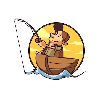 Cartoon lake fishing