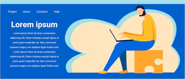 Pagina di destinazione dei cartoni animati per i servizi di incontri online