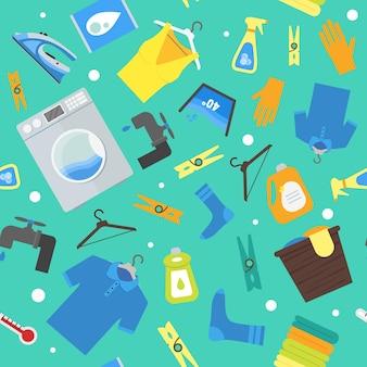 Modello di sfondo lavanderia dei cartoni animati. illustrazione di vettore di stile di design piatto di lavori domestici di lavaggio e stiratura