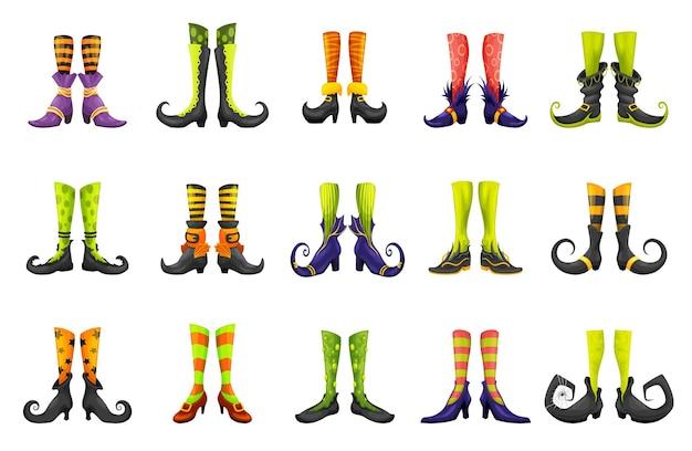Gambe di cartone animato di maga fata strega o gnomo elfo