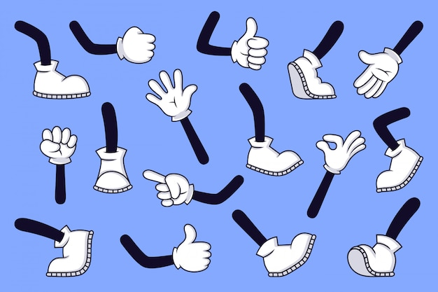 Gambe e mani dei cartoni animati. braccio e piedi gloved del carattere comico in stivali, retro armi di scarabocchio con differenti gesti, insieme dell'illustrazione delle gambe di funzionamento e di camminata. pollice in su, segno ok