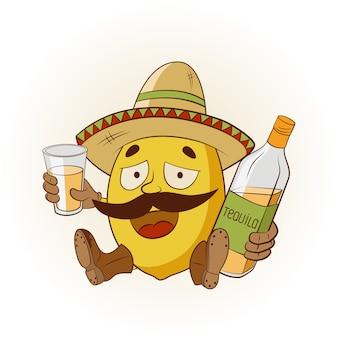 Cartone animato limone in un sombrero e stivali bevendo tequila. illustrazione