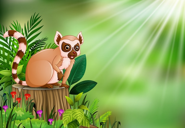 Fumetto delle lemure che si siedono sul ceppo di albero con le foglie verdi e la pianta di fioritura