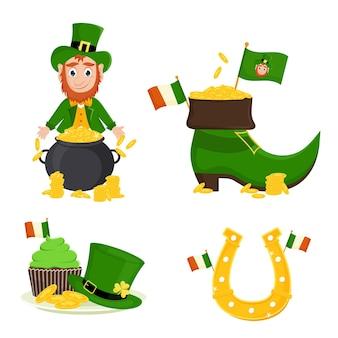 Leprechaun del fumetto con una pentola d'oro. elementi vettoriali per il giorno di san patrizio, ferro di cavallo, oro, scarpe, cupcake.