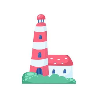 Faro di cartone animato su sfondo bianco - illustrazione vettoriale.