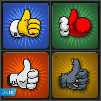 Cartoon come simboli thumbs up icon set illustrazione vettoriale