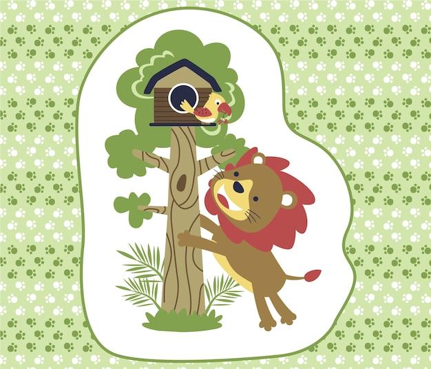 Cartone animato di leone e uccello sullo sfondo di orma
