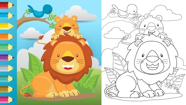 Cartone animato di leone e il suo cucciolo sulle foglie con un posatoio di uccello sui rami degli alberi