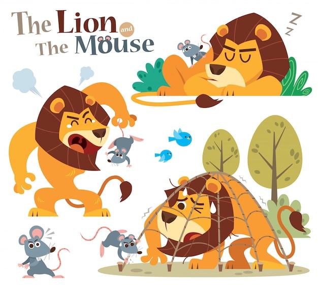Cartone animato il leone e il topo. personaggi delle fiabe.