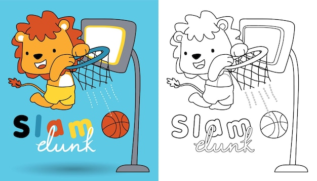 Cartone animato di leone che gioca a basket, libro da colorare o pagina per bambini