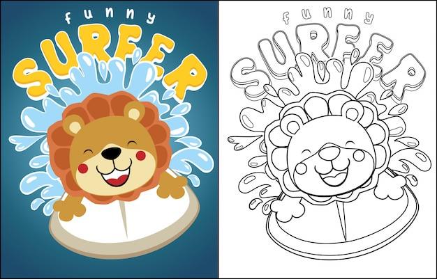 Cartone animato del leone surfista sull'onda