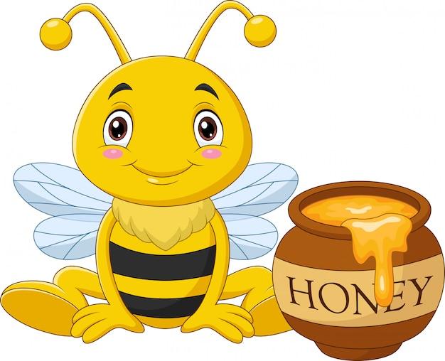 Cartone animato piccola ape con vaso di miele