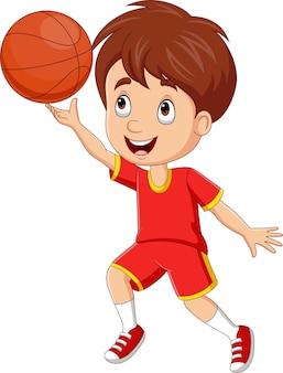 Ragazzino cartone animato che gioca a basket