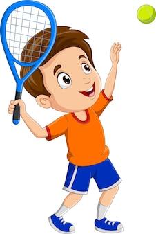 Ragazzino del fumetto che gioca a tennis