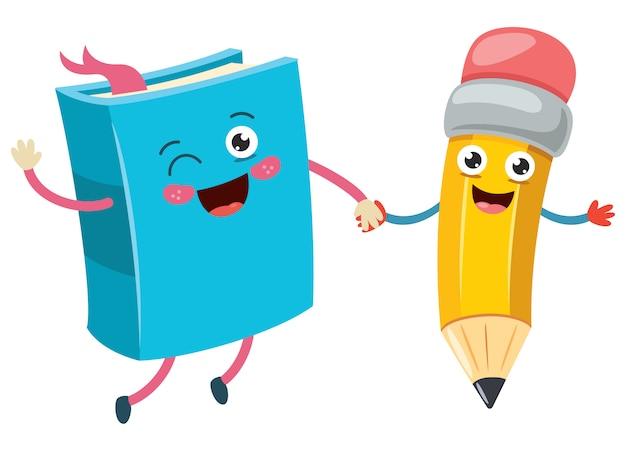 Cartone animato piccola matita divertente e libro