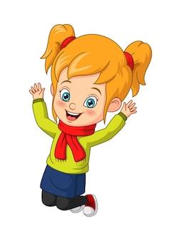 Bambina del fumetto in vestiti autunnali che salta