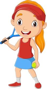 Bambina del fumetto che gioca a tennis