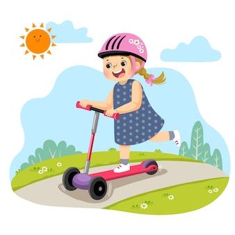 Cartone animato della bambina in sella a tre scooter a ruote nel parco