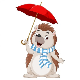 Piccolo riccio del fumetto in una sciarpa con l'ombrello