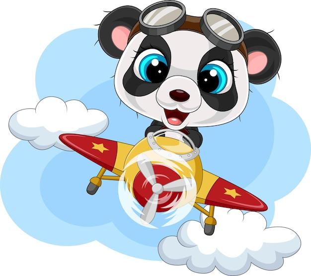 Piccolo panda cartone animato che manovra un aereo