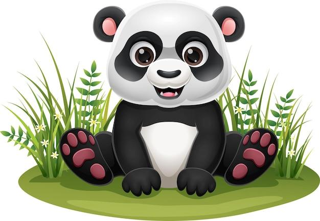 Piccolo panda cartone animato seduto nell'erba