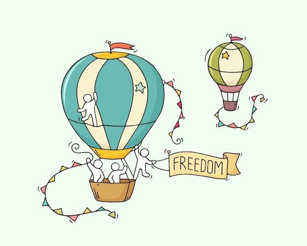 La piccola gente del fumetto vola in aria. doodle carino scena in miniatura di lavoratori con mongolfiere. illustrazione del fumetto disegnato a mano