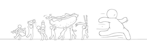 Il piccolo popolo del fumetto insegue l'uomo grasso. doodle carino scena in miniatura di uomini con fast food. illustrazione vettoriale disegnata a mano per un design sano.