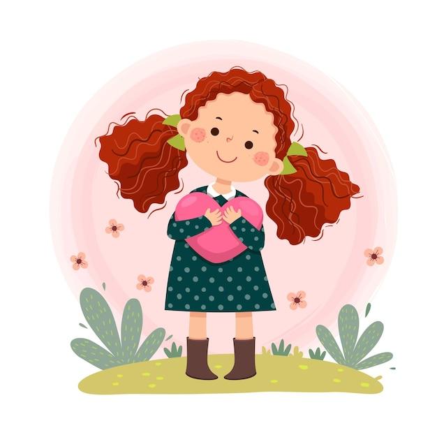 Cartone animato di piccola ragazza rossa dei capelli ricci che abbraccia a forma di cuore. amore di sé, cura di sé.