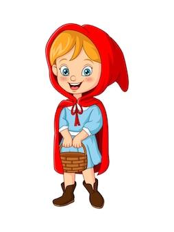 Cappuccetto rosso cartone animato che tiene un cesto
