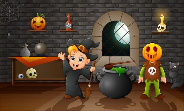 Cartone animato di piccola strega e maschera di zucca