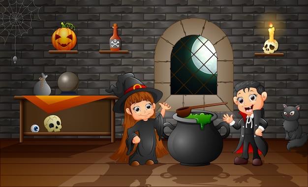 Cartone animato di piccola strega e vampiro