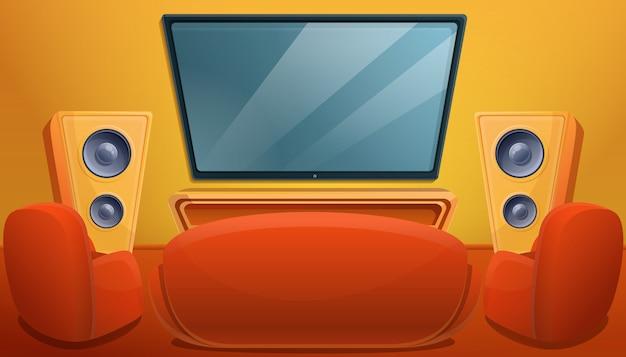 Salone del fumetto con il sofà e le poltrone della tv, illustrazione