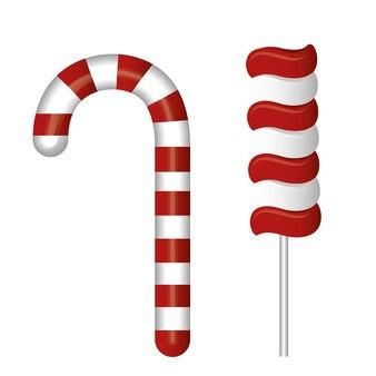 Lecca lecca e bastoncino di zucchero rosso e bianco