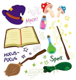 Fumetto illustrazione di attrezzature magiche