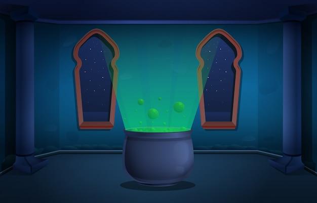 Torre magica del fumetto del castello dello stregone con un calderone con un elisir alla notte, illustrazione