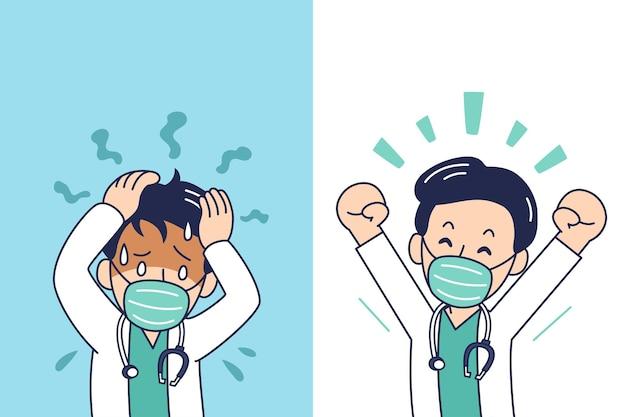 Medico maschio del fumetto che indossa una maschera protettiva che esprime emozioni diverse per il design.