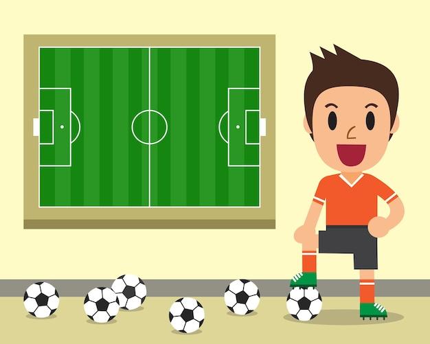 Giocatore di calcio maschio del fumetto e illustrazione del campo di calcio