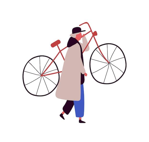 Uomo del fumetto in berretto e mantello alzando la bici isolata su priorità bassa bianca. il personaggio maschile colorato porta l'illustrazione piana di vettore della bicicletta. persona che trasporta il veicolo.