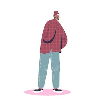 Cartoon uomo tosse e coprire la faccia con illustrazione della mano