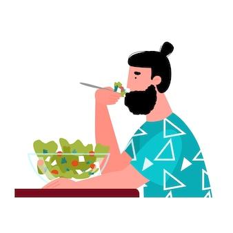 Cartoon uomo mangia insalata da ciotola di vetro cibo sano e nutrizione