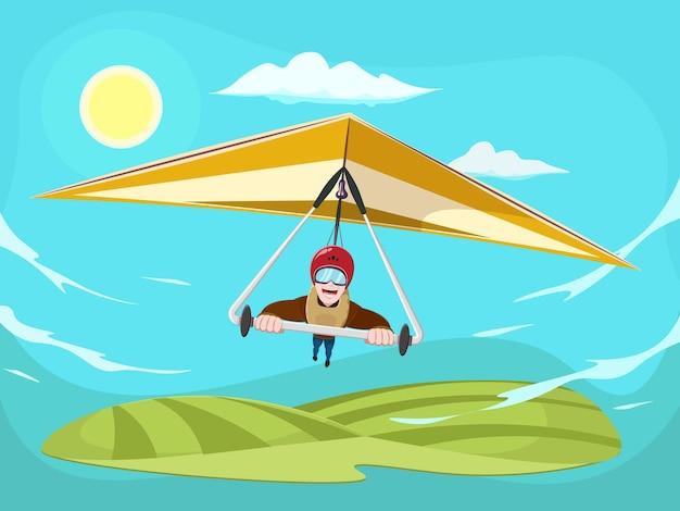 Uomo del fumetto che vola sul deltaplano. uomo sorridente che vola su deltaplano. sportivo partecipando a gare di deltaplano.