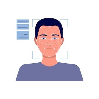 Fronte dell'uomo del fumetto nel dispositivo di tecnologia di riconoscimento facciale