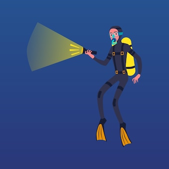Uomo del fumetto in costume da immersione con bombole che tiene la torcia elettrica per vedere in acque scure - subacqueo con maschera e bombola di ossigeno che nuota sott'acqua. illustrazione