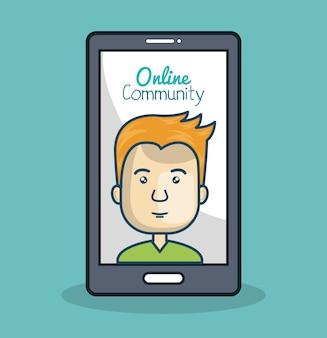 Comunità online di cartoon uomo e smartphone