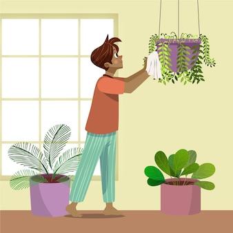 Uomo del fumetto che si prende cura delle piante