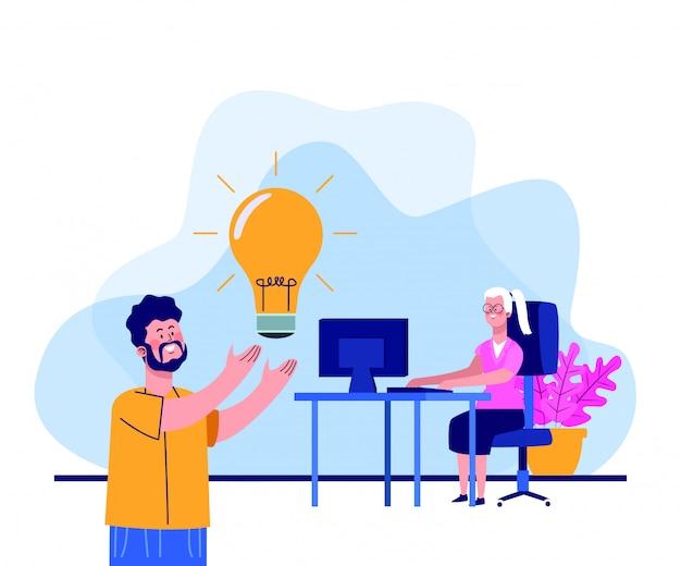 Uomo del fumetto con il ligth della lampadina e donna che lavora alla scrivania